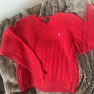 Lauren Ralph Lauren Red Sweater cable knit Sz M